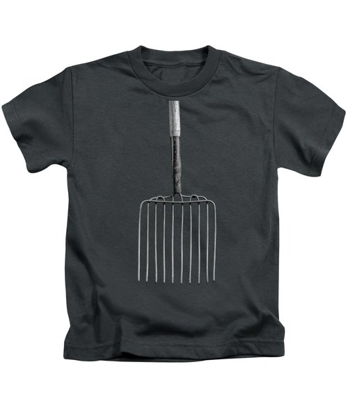 Ensilage Fork Up On Plywood In Bw 66 Kids T-Shirt