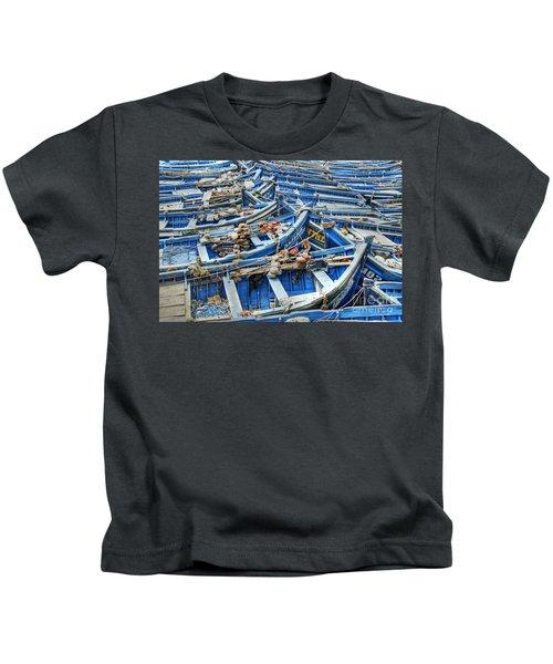 Essaouira Blue Fishing Boats Kids T-Shirt