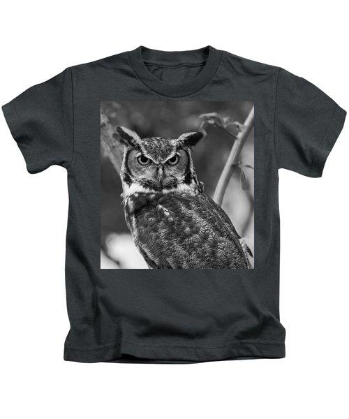 Eurasian Eagle Owl Monochrome Kids T-Shirt