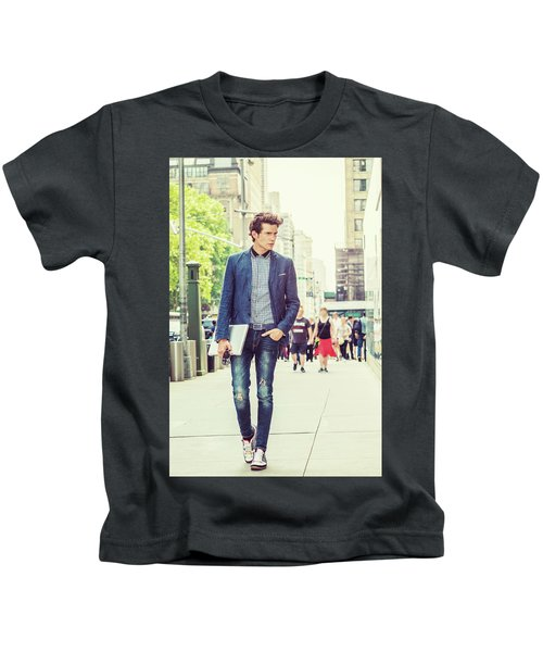European College Student Studying In New York Kids T-Shirt