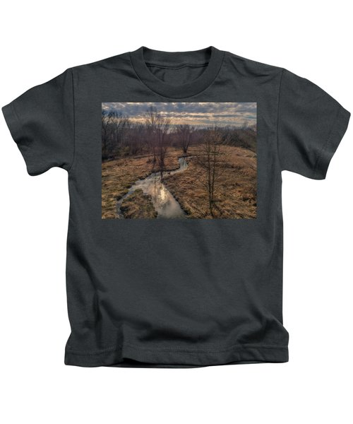 Evening Sun On The Creek Kids T-Shirt