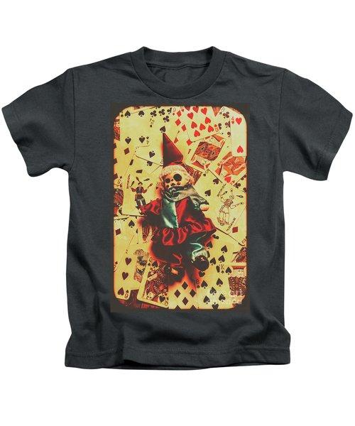 Evil Clown Doll On Playing Cards Kids T-Shirt