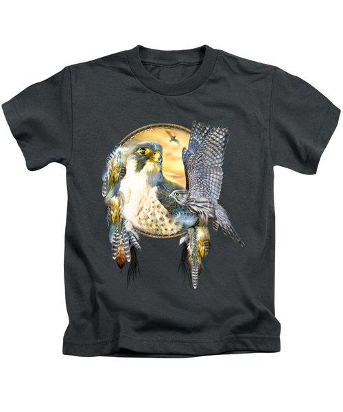 Falcon Dreams Kids T-Shirt by Carol Cavalaris