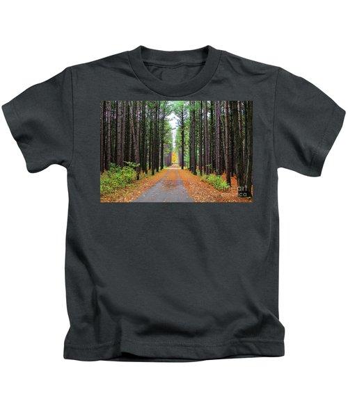 Fall Pines Road Kids T-Shirt