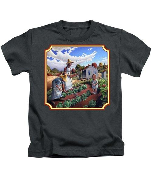 Family Garden Country Farm Landscape - Square Format Kids T-Shirt