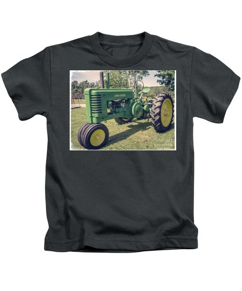 Farm Green Tractor Vintage Style Kids T-Shirt