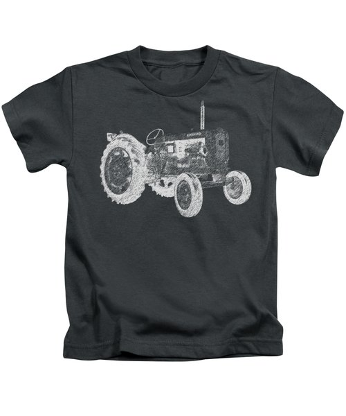 Kids T-Shirt featuring the digital art Farm Tractor Tee by Edward Fielding