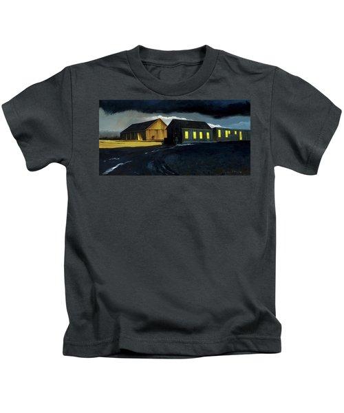 Farm Yard With Moonlight And Rain Kids T-Shirt
