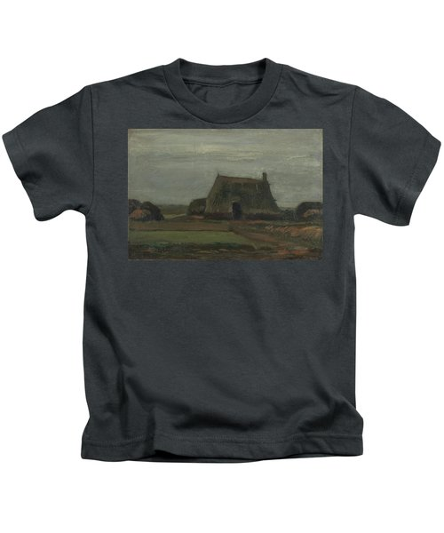 Farmhouse With Peat Stacks, 1883 Kids T-Shirt