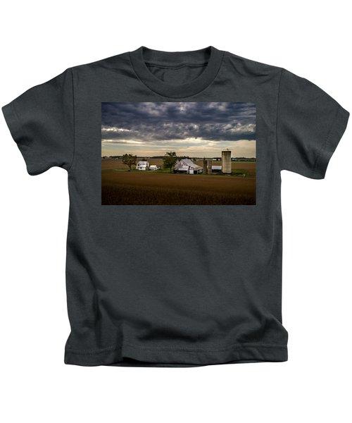 Farmstead Under Clouds Kids T-Shirt