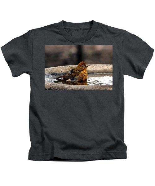 Female Summer Tanager In Bird Bath Kids T-Shirt