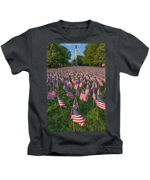 Field Of Flags At Boston's Soldiers And Sailors Monument Kids T-Shirt