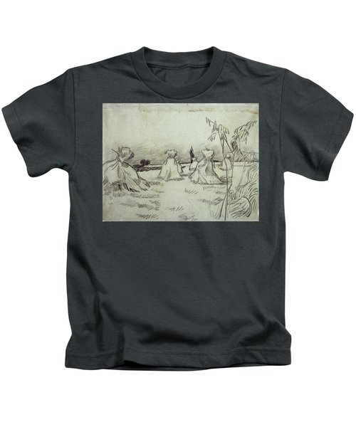 Field With Sheaves Of Wheat, 1890 Kids T-Shirt
