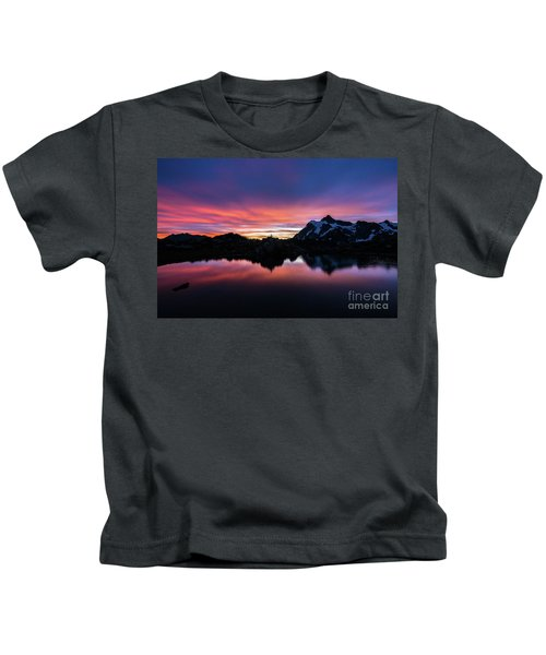 Fiery Shuksan Sunrise Reflection Kids T-Shirt
