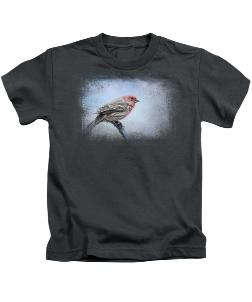 Finch In The Snow Kids T-Shirt by Jai Johnson