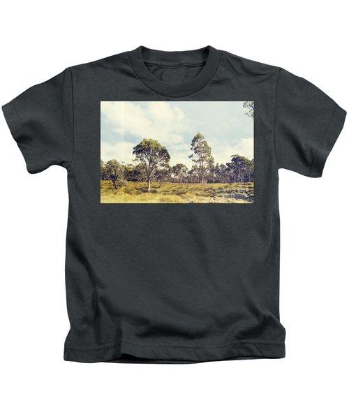 Fine Art Australia Landscape. Retro Tasmania Field Kids T-Shirt