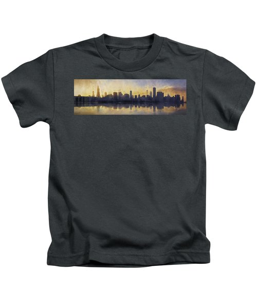 Fire In The Sky Chicago At Sunset Kids T-Shirt by Scott Norris