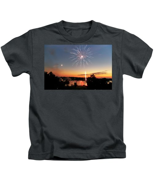 Fireworks And Sunset Kids T-Shirt