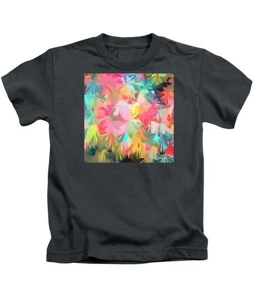Fireworks Floral Abstract Square Kids T-Shirt by Edward Fielding