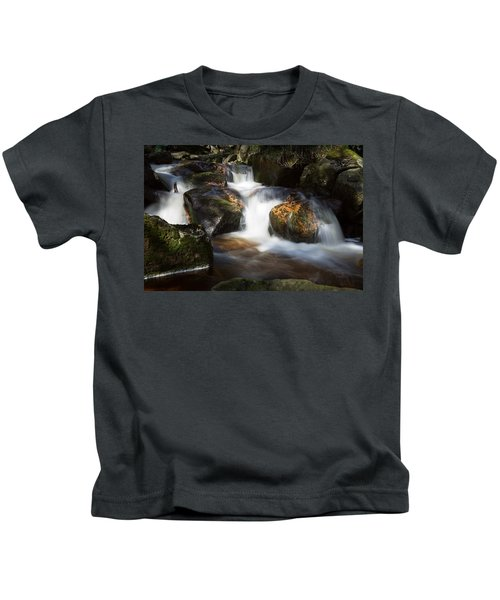 first spring sunlight on the Warme Bode, Harz Kids T-Shirt