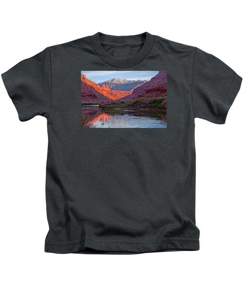 Fisher Towers Sunset Reflection Kids T-Shirt
