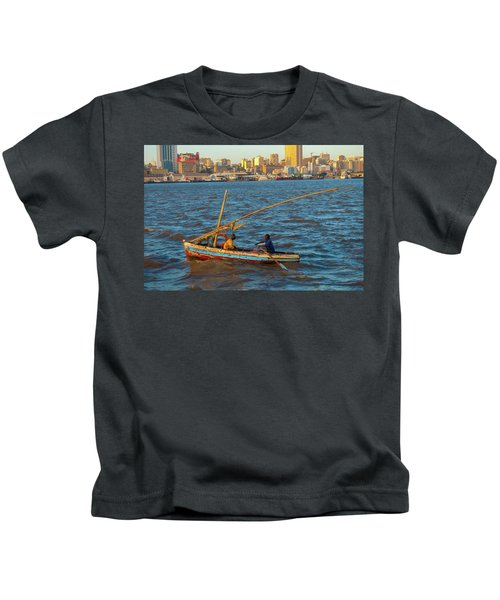 Fishermen Rowing Near Maputo Kids T-Shirt