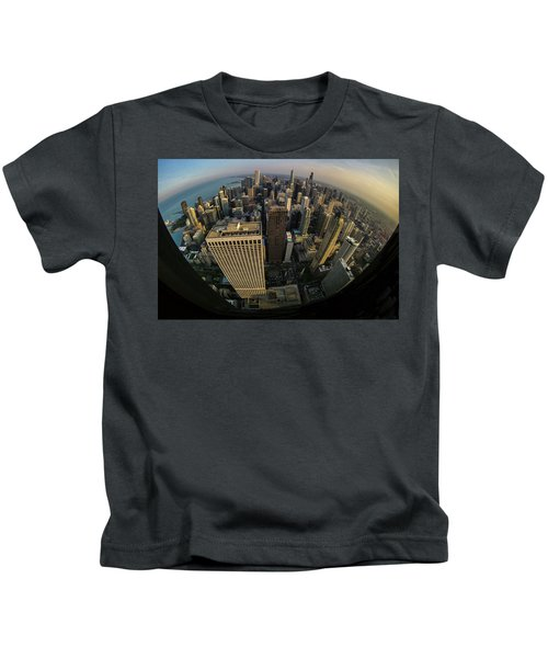 Fisheye View Of Dowtown Chicago From Above  Kids T-Shirt
