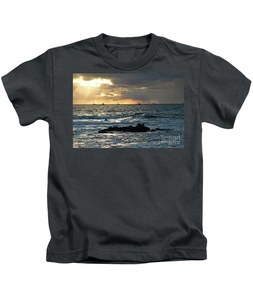 Fishing Boats Off Point Lobos Kids T-Shirt