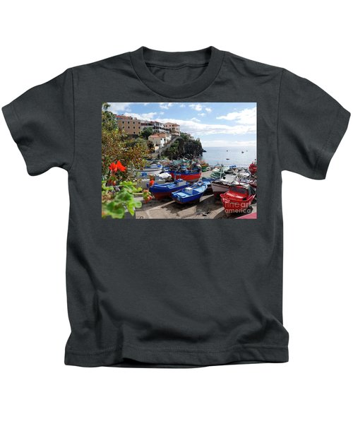 Fishing Village On The Island Of Madeira Kids T-Shirt