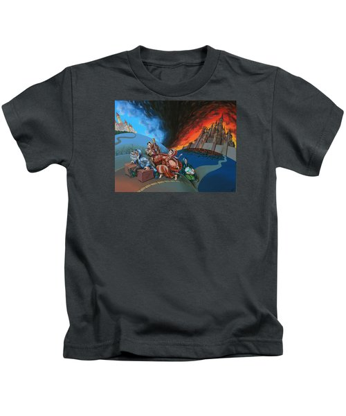 Flight Of Lot Out From Sodom Kids T-Shirt