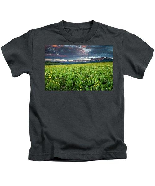 Flower Field And Sneffels Range Kids T-Shirt