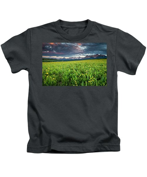 Flower Field And Sneffels Range Kids T-Shirt