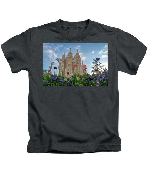 Flowers At Temple Square Kids T-Shirt