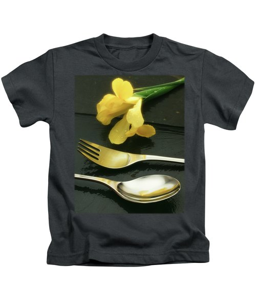 Flowers On Slate Kids T-Shirt by Jon Delorme