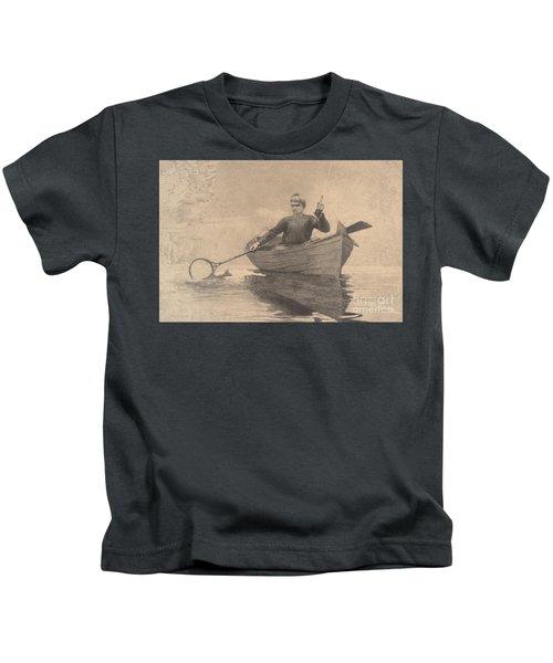 Fly Fishing, Saranac Lake, 1889 Kids T-Shirt
