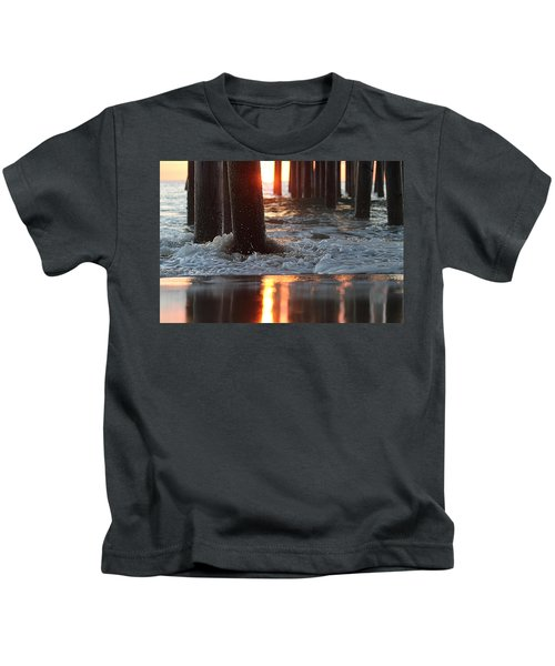 Foamy Waters Under The Pier Kids T-Shirt