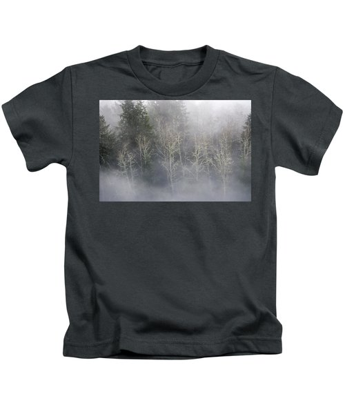 Foggy Alders In The Forest Kids T-Shirt