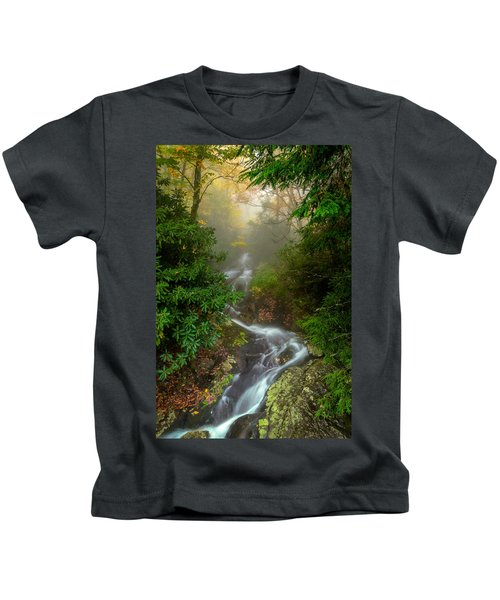 Foggy Autumn Cascades Kids T-Shirt