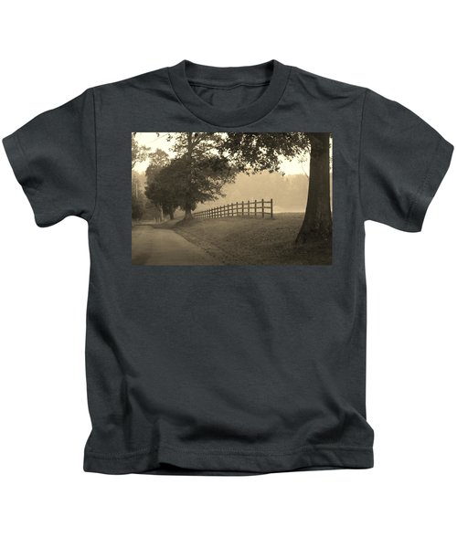 Foggy Fence Line Kids T-Shirt