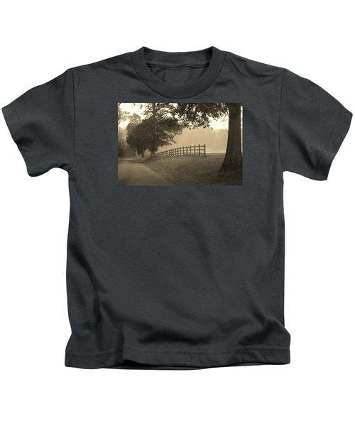 Foggy Fence Line Kids T-Shirt