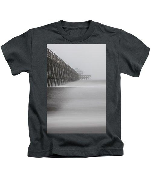 Foggy Folly Beach Pier Kids T-Shirt