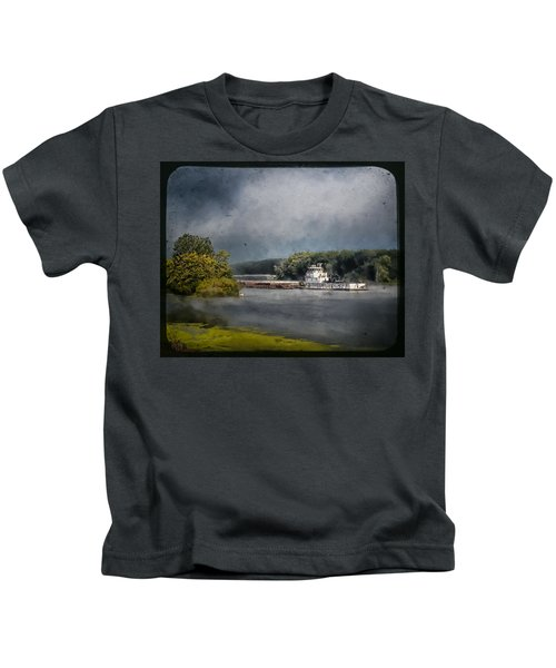 Foggy Morning At The Barge Harbor Kids T-Shirt