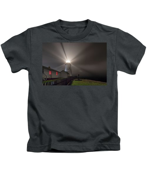 Foggy Night At Pemaquid Point Lighthouse Kids T-Shirt