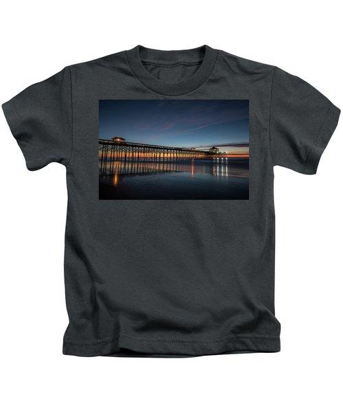 Folly Beach Pier Before Sunrise Kids T-Shirt