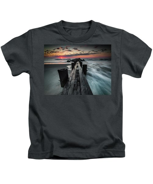 Folly Beach Tale Of Two Sides Kids T-Shirt
