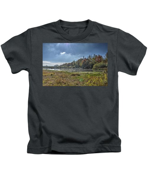 Forest Lake In Autumn Kids T-Shirt