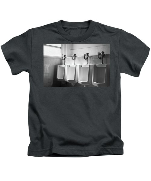 Four Urinals In A Row Bw Kids T-Shirt