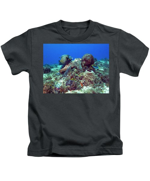 French Angelfish And The Green Turtle Kids T-Shirt
