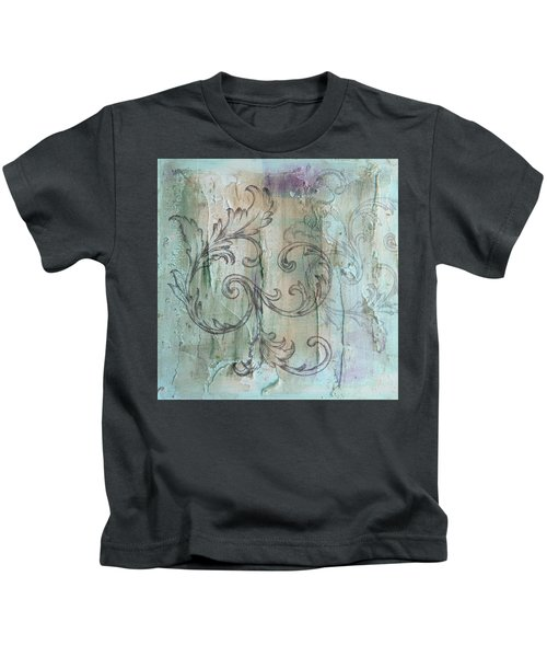 French Country Scroll In Muted Blue Kids T-Shirt