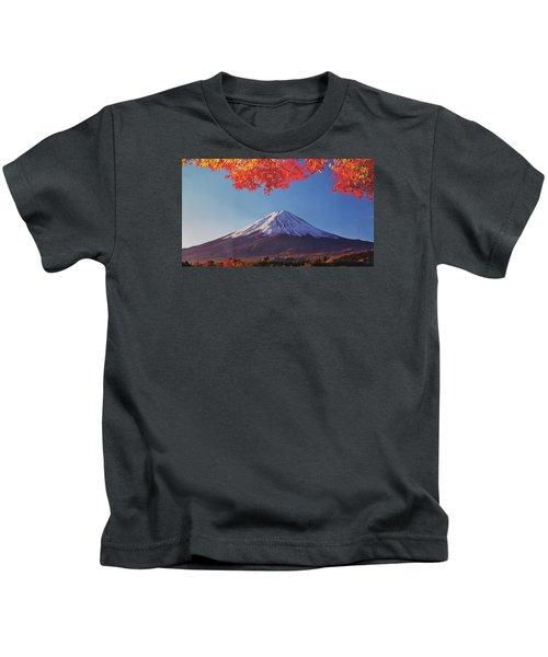 Fuji Shine In Autumn Leaves Kids T-Shirt